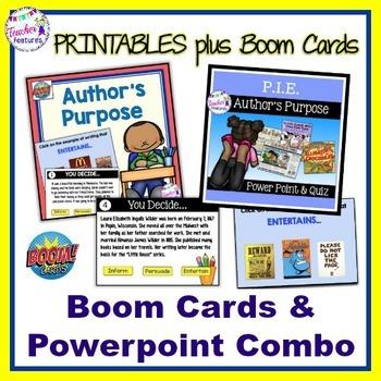 Authors Purpose Activities & Quiz + ADDED BONUS: Author's Purpose BOOM CARDS