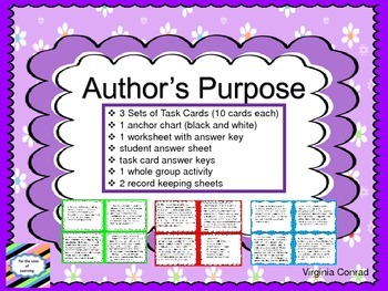 Author's Purpose--3 Sets of Task Cards and More