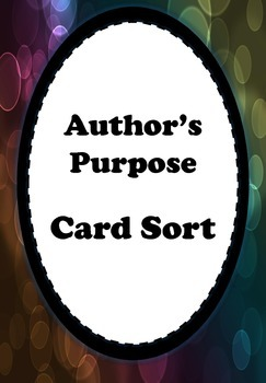 Author's Purpose Activity Cards