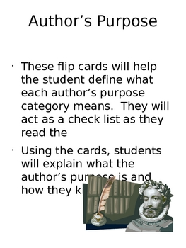 Author's Purpose Activity Flip Cards and Examples