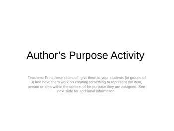 Author's Purpose Activity Group Work FUN