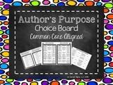 Author's Purpose Choice Board (Common Core Aligned)
