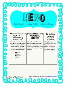 Author's Purpose American Hero Writing Choice Board