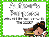 Author's Purpose Anchor Charts and Mini Lesson