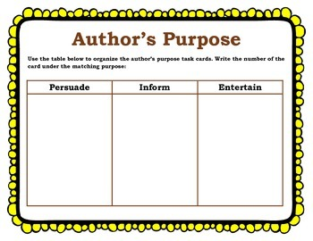 Author's Purpose Anchor charts and Task cards