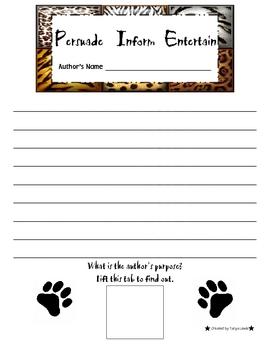 Author's Purpose Animal Cracker Writing Activity