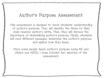 Author's Purpose Assessment