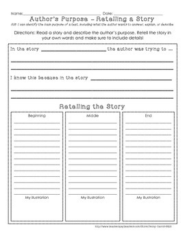 Author's Purpose Assessment or Practice Sheet