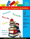Author's Purpose: Bingo,   Foldable, Graphic Organizer, Sorts, and Quiz