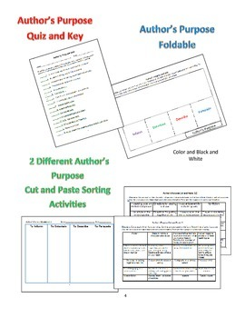 Author's Purpose: Bingo,   Foldable, Graphic Organizer, Sorts, and Quiz