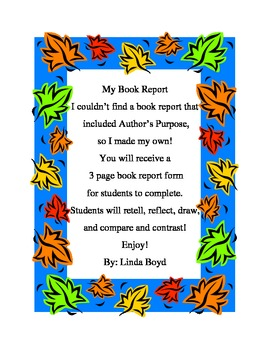Author's Purpose Book Report by Linda Boyd