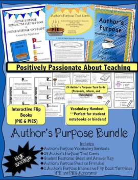Author's Purpose Bundle: Vocabulary, Flip Books, Printable, & Task Cards