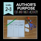 Author's Purpose Cut and Paste Activity / Assessment - Print and Digital!