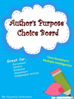 Author's Purpose  Choice Challenge (Multiple Intelligences)