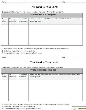 Authors Purpose - ELA Test Prep