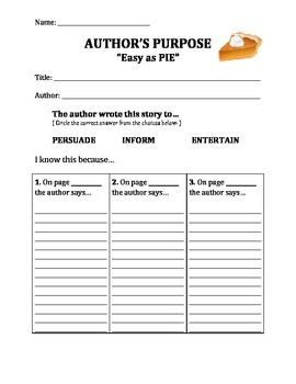 Author's Purpose - Easy as PIE