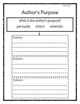 Author's Purpose Evidence Based Recording Sheet - Close Reading
