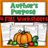 Author's Purpose Fall Practice Paragraphs Packet