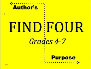 Author's Purpose Find Four Persuade, Inform, Entertain