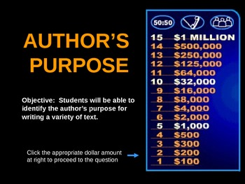 Author's Purpose Game/Who Wants To Be A Millionaire