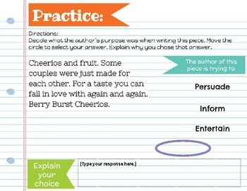 Authors Purpose- Google Classroom resource