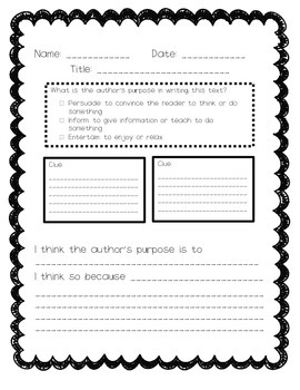 Author's Purpose Graphic Organizer, English