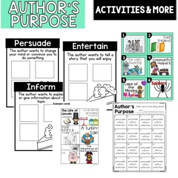 Author's Purpose: Lesson Plan, Anchor Charts, Graphic Organizers