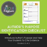 Author's Purpose Identification Checklist