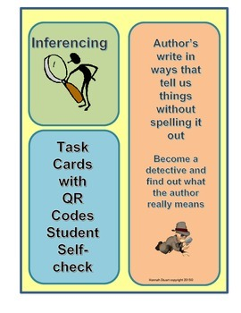Author's Purpose Infer, Claim, Evidence Cards QR Code Self Check Responses