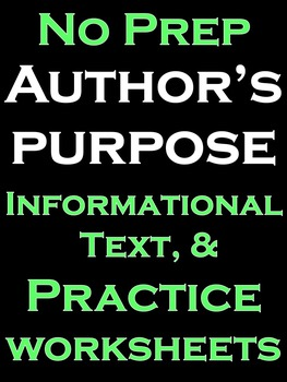 Author's Purpose Literacy and Writing Activities NO PREP