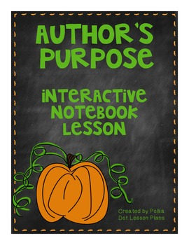 Author's Purpose Interactive Notebook Lesson with Two Practice Worksheets