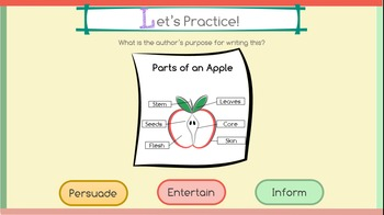 Author's Purpose Interactive PowerPoint (Persuade, Inform, Entertain)