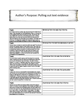 Author's Purpose Interactive Reading Notebook Pages