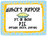 Author's Purpose Is As Easy as P.I.E. CCSS Aligned