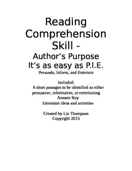 Author's Purpose - It's as easy as P.I.E.