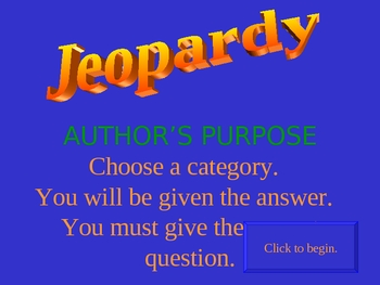 Author's Purpose Jeopardy