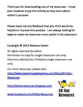 Author's Purpose--Just Think Pie!