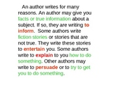 Author's Purpose Lesson and Practice Slide Show