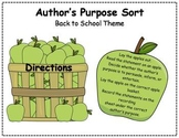 Author's Purpose Literacy Center Sort - Back to School Theme