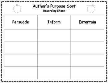 Author's Purpose Literacy Center Sort - Back to School Theme
