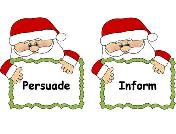 Author's Purpose Literacy Center Sort - Christmas Theme