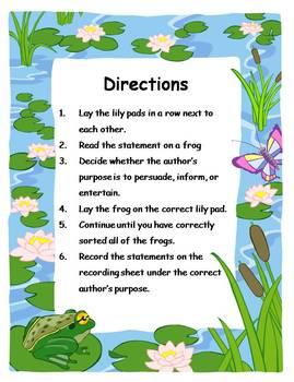 Author's Purpose Literacy Center Sort - Frog Theme