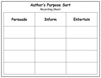 Author's Purpose Literacy Center Sort - Groundhog Day
