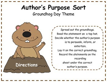 Author's Purpose Literacy Center Sort - Groundhog Day