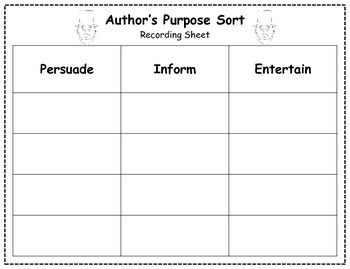 Author's Purpose Literacy Center Sort - President's Day