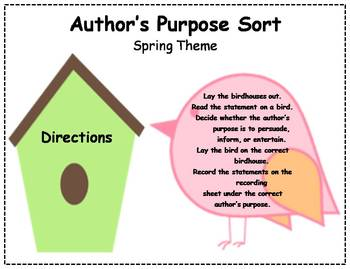 Author's Purpose Literacy Center Sort - Spring Theme