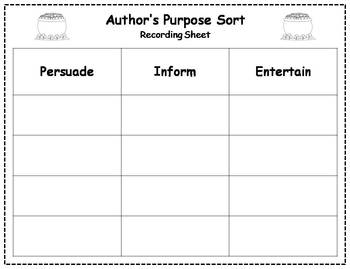 Author's Purpose Literacy Center Sort - St. Patrick's Day Theme