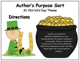 Author's Purpose Literacy Center Sort - St. Patrick's Day Theme