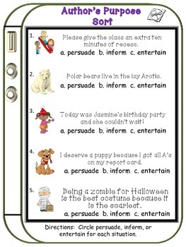 Author's Purpose Literacy Center and Anchor Chart