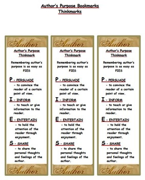 Author's Purpose - Literary Element Bookmark